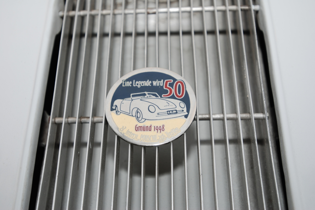 Ivory Porsche 356/2 Gmund coupe_rear grill badge_cars&coffee_July 7, 2012