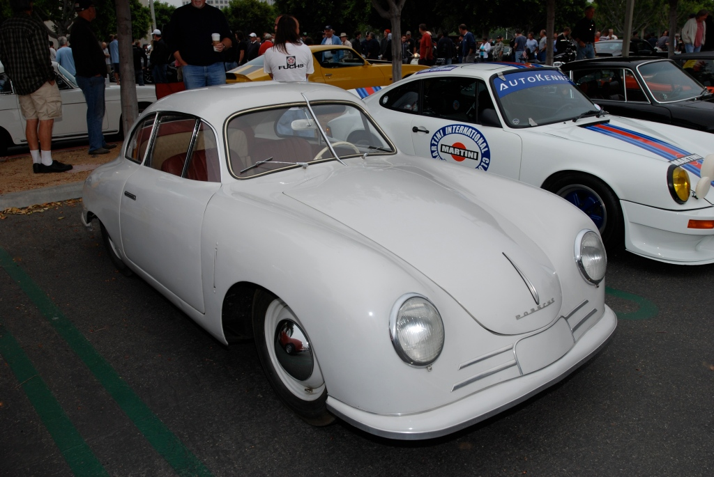 Ivory Porsche 356/2 Gmund coupe_3/4 front view_Porsche row__cars&coffee_July 7, 2012