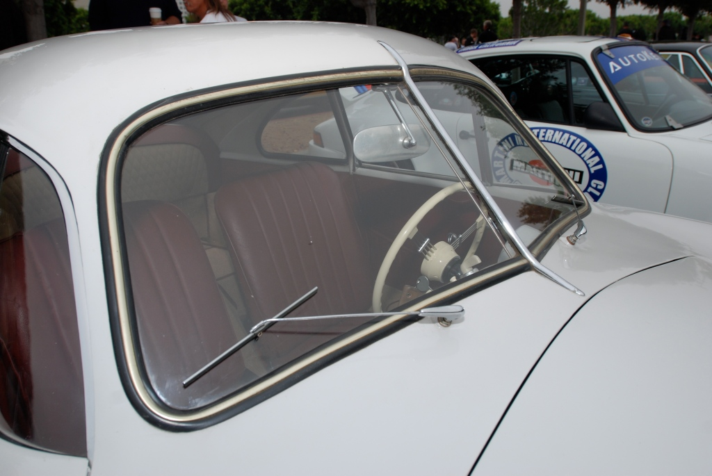 Ivory Porsche 356/2 Gmund coupe_split windshield and wiper details_Porsche row__cars&coffee_July 7, 2012