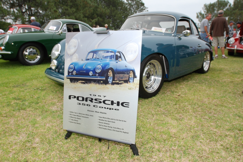 "Porsche 356 Registry_ Blue 1957 ""Outlaw"" coupe with placcard _Dana Point concours _July 15, 2012"