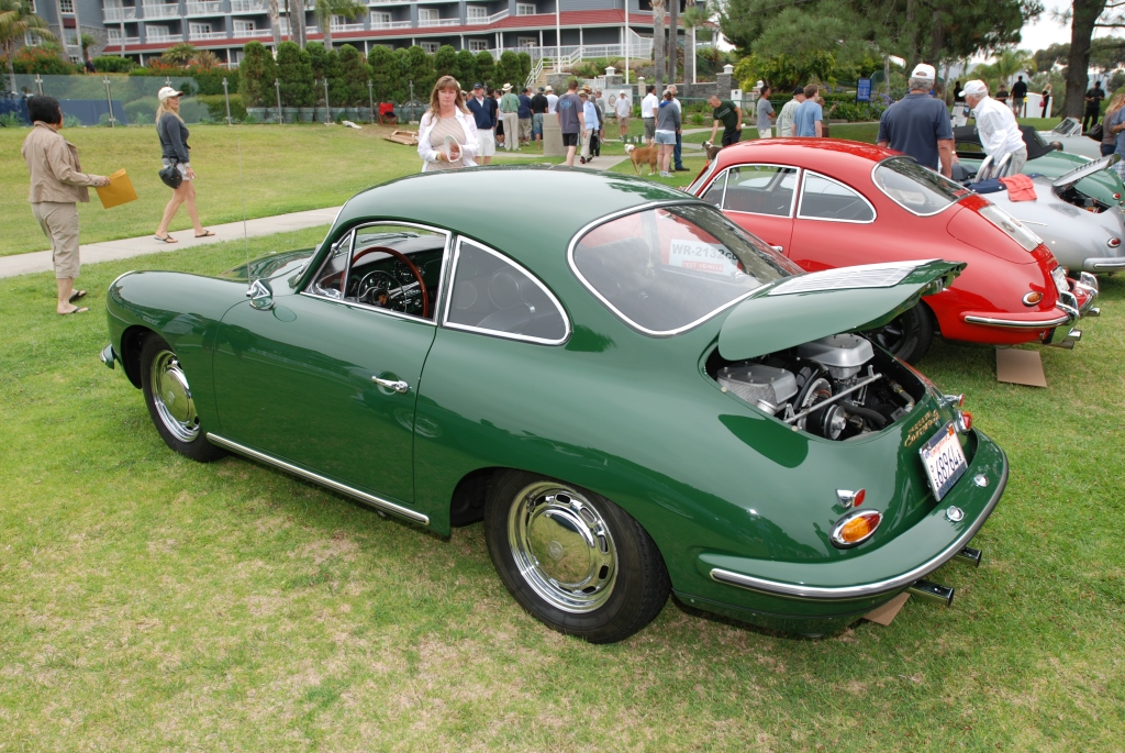 Porsche 356 Registry_ Green Carrera 2  coupe/ first row_Dana Point concours _July 15, 2012