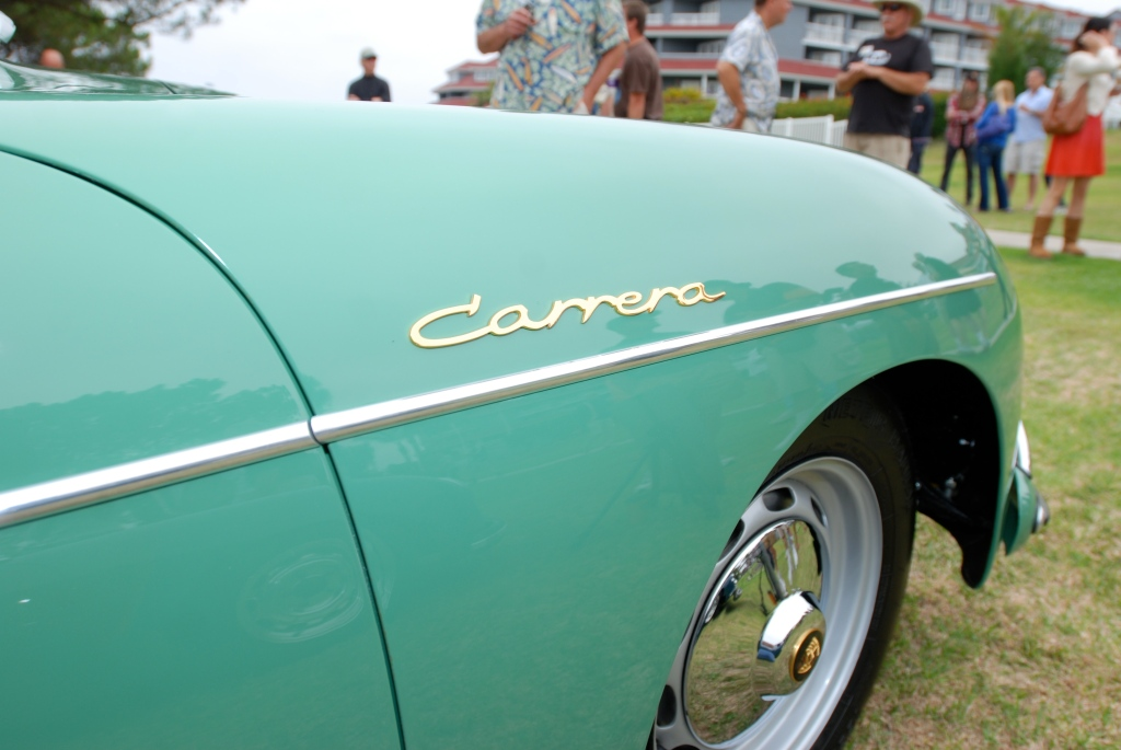 Porsche 356 Registry_ Pale Green Carrera coupe / fender detail _Dana Point concours _July 15, 2012