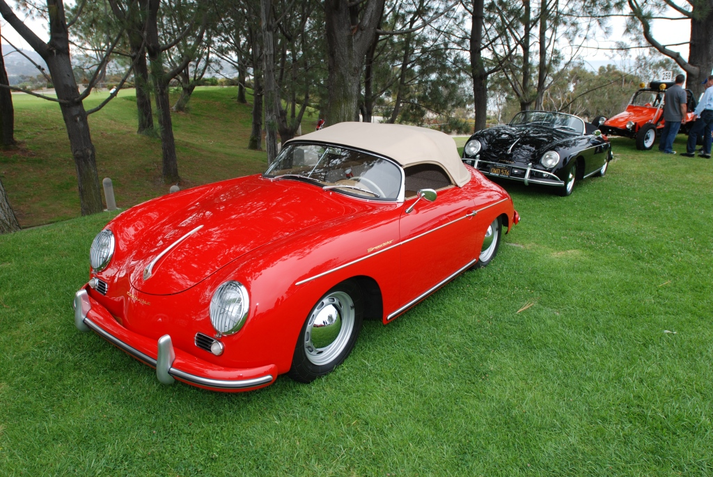 356 Registry_ Red & Black speedsters_under trees_Dana Point concours _July 15, 2012