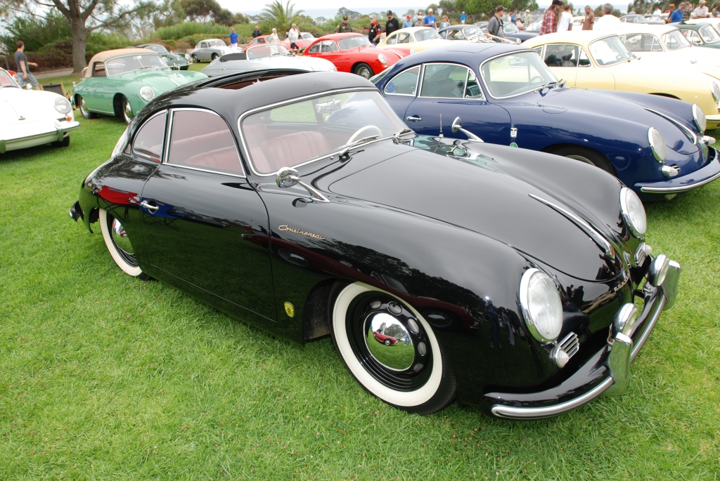 356 Registry_  Black Porsche 356 Continental coupe with reflections_3/4 front view_Dana Point concours _July 15, 2012