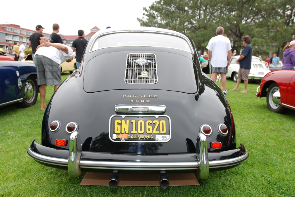 356 Registry_  Black Porsche 356 Continental coupe _rear view_Dana Point concours _July 15, 2012