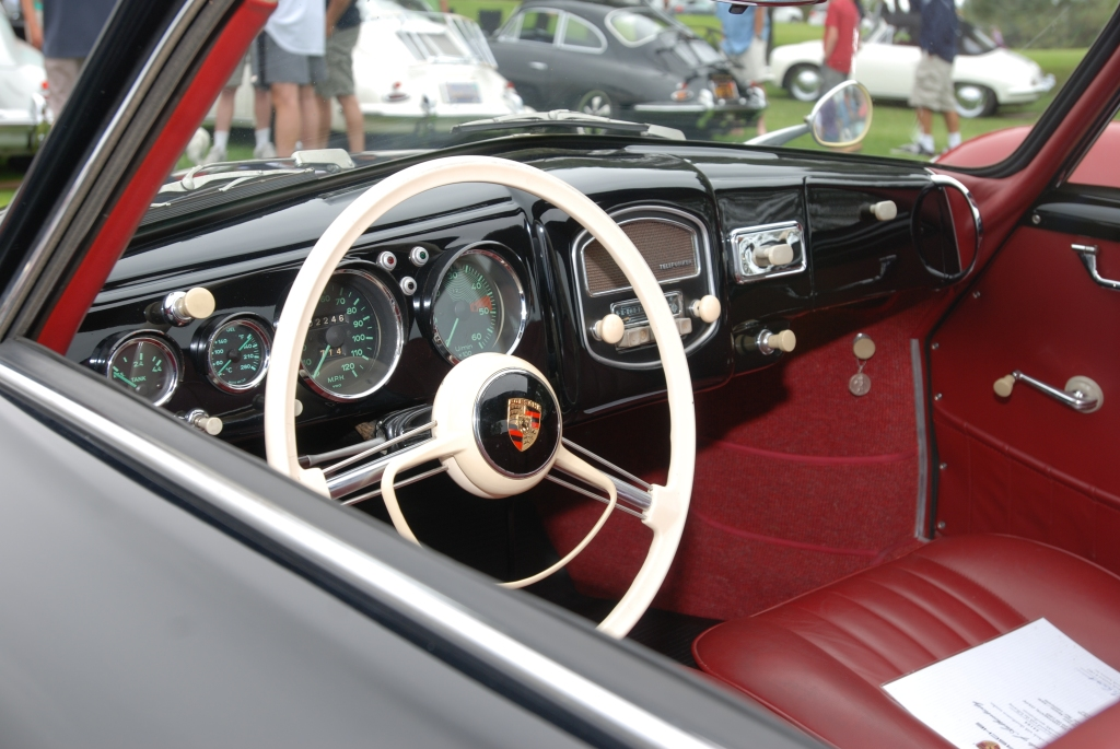 356 Registry_  Black Porsche 356 Continental coupe _interior /dash details_Dana Point concours _July 15, 2012