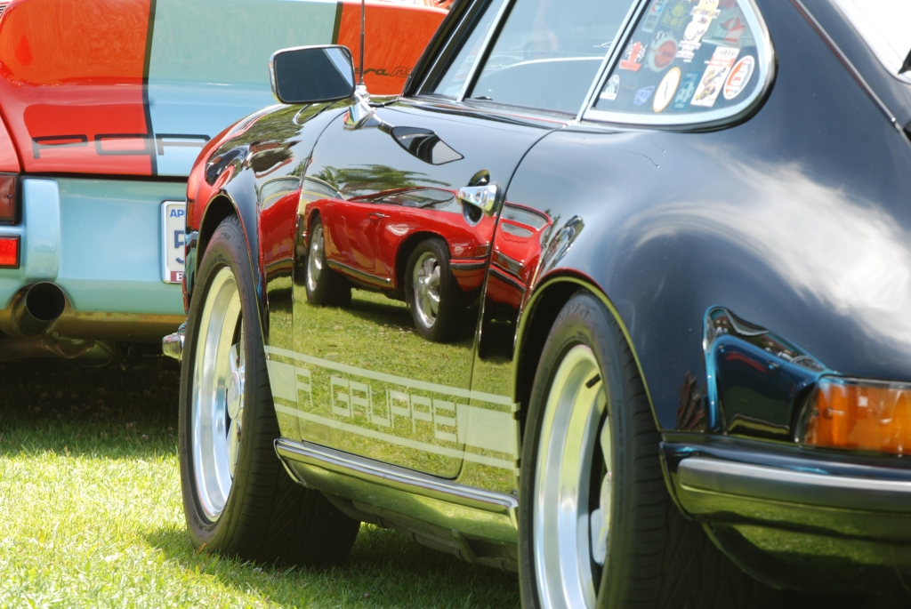 356 Registry_ Black Porsche 911S race car_3/4 rear view & reflections _Dana Point concours _July 15, 2012