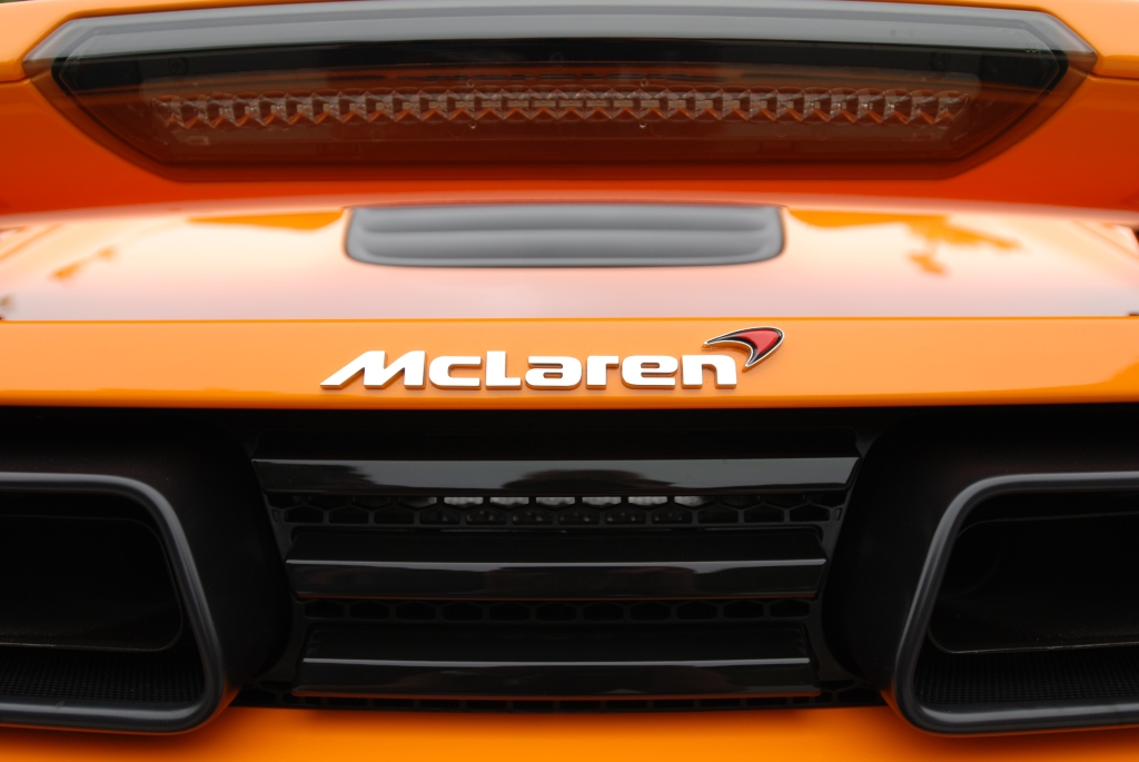 """McLaren Orange"" McLaren MP4-12C_ rear deck  and exhaust detail_Cars&Coffee/Irvine_June 23, 2012"