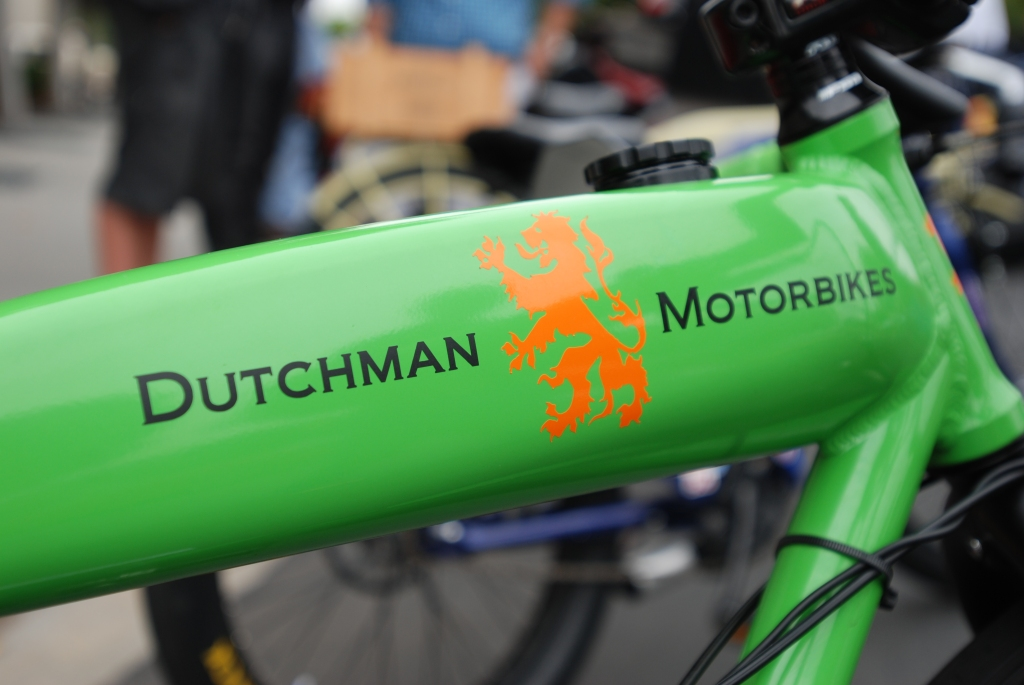 Lime Green Dutchman Motorbike_fuel tank and logo_motorcycle row_Cars&Coffee/Irvine_June 23, 2012