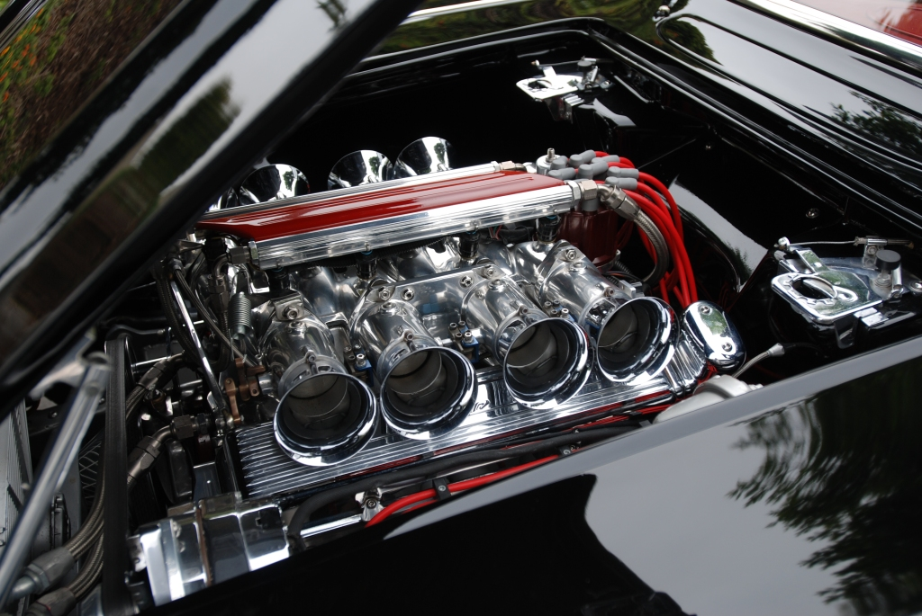 Black 1962 Corvette roadster_engine detail&reflections_Cars&Coffee/Irvine_June 23, 2012