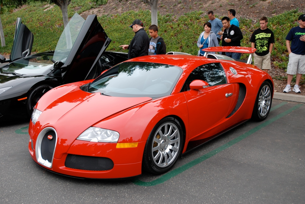 Fire engine red Bugatti Veyron 16.4_3/4 front view_Cars&Coffee/Irvine_June 23, 2012