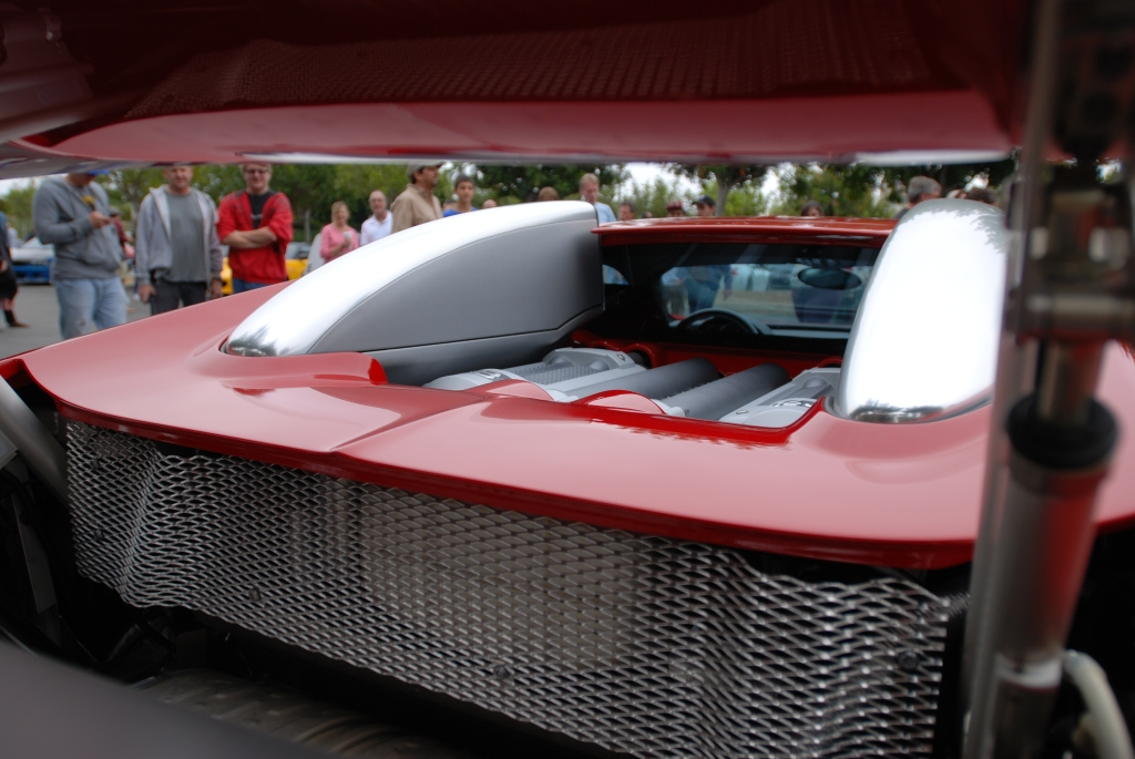 Fire engine red Bugatti Veyron 16.4_thru the wing view_Cars&Coffee/Irvine_June 23, 2012
