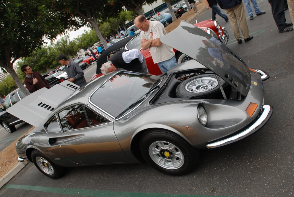 Charcoal gray Ferrari Dino_with open front trunk and rear decklid_Cars&Coffee/Irvine_June 23, 2012
