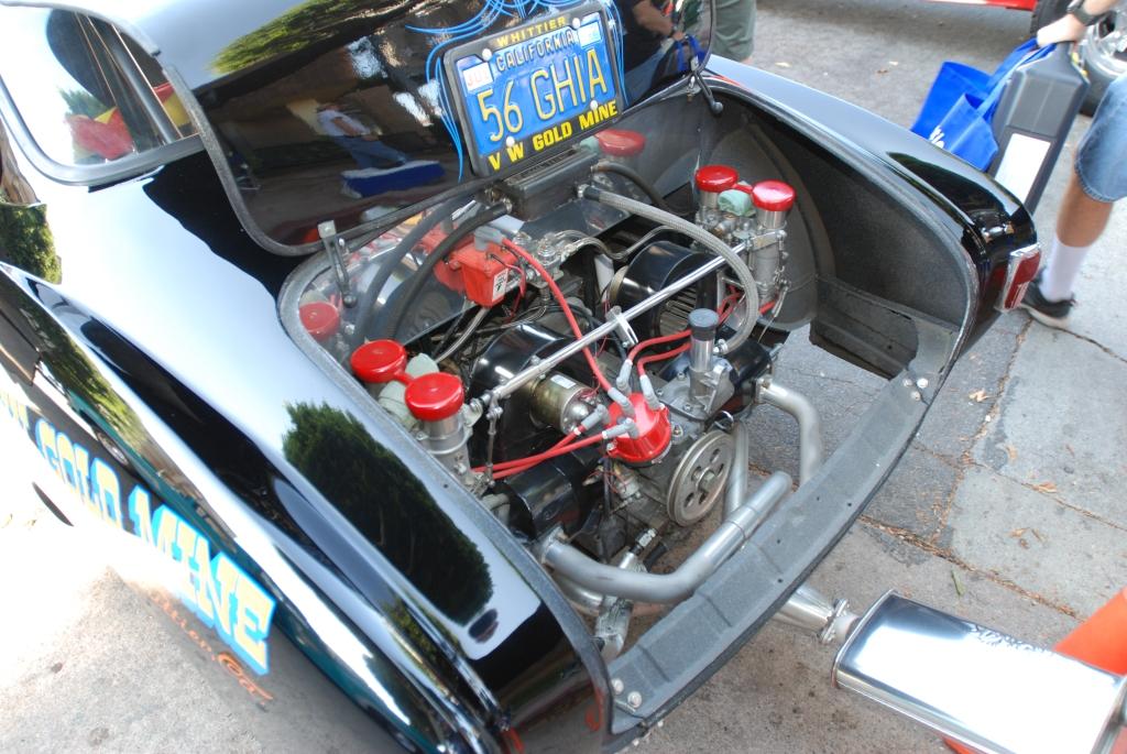 Black 1956 VW Karmann Ghia with flames_race motor detail _12th Annual Uptown Whittier Car Show_August 18, 2012