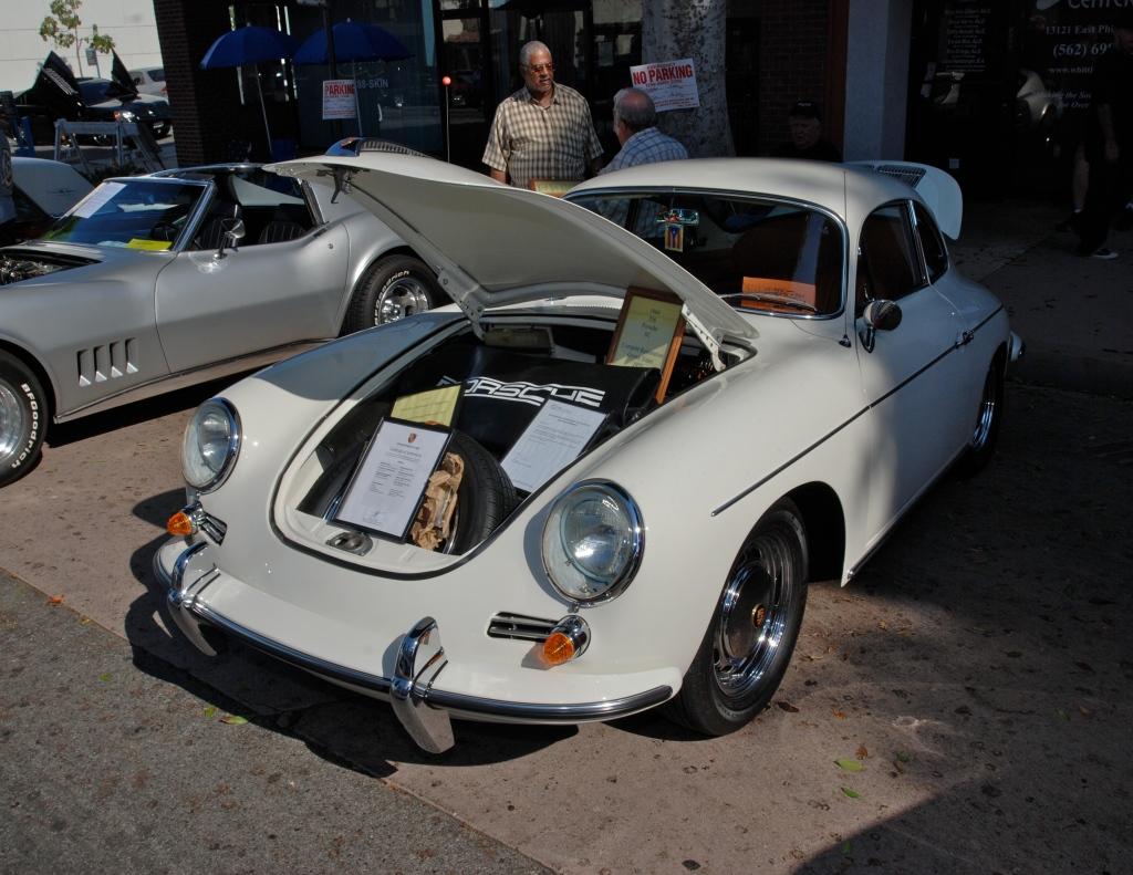 White 1964 Porsche 356SC_3/4 front view_12th Annual Uptown Whittier Car Show_August 18, 2012