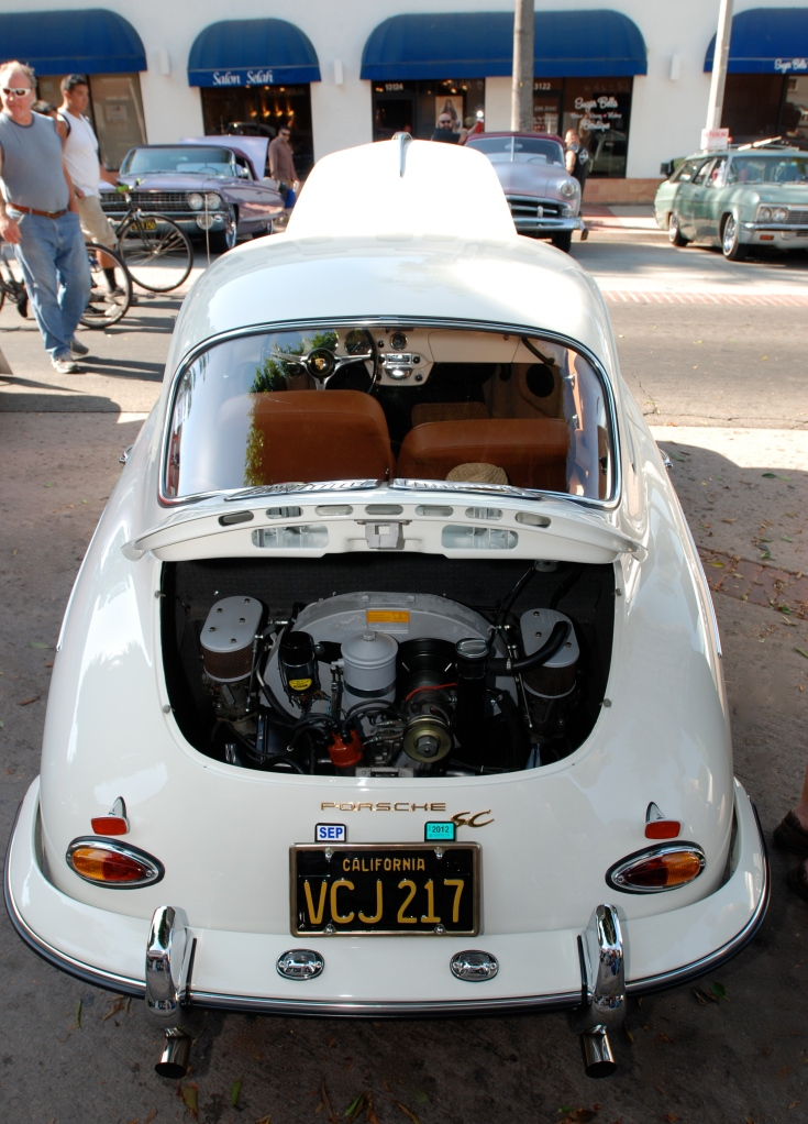 White 1964 Porsche 356SC_rear view_12th Annual Uptown Whittier Car Show_August 18, 2012