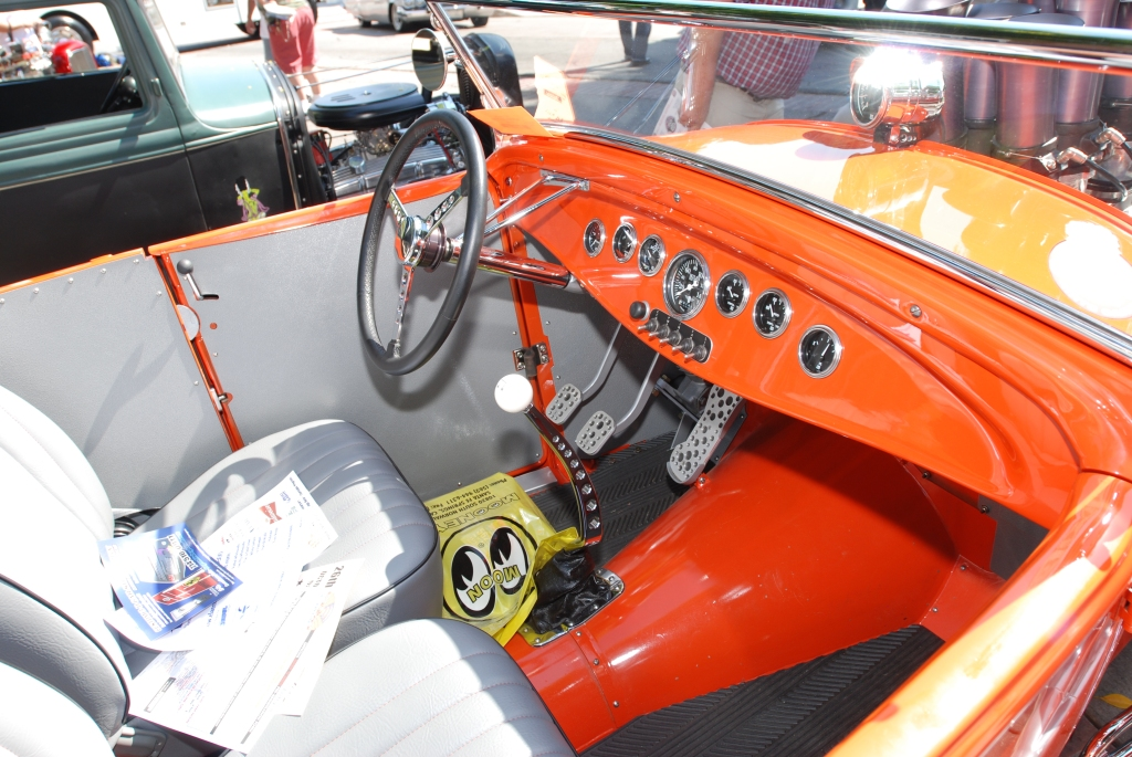Orange 1932 Ford roadster with fuel injected motor_interior detail_ 12th Annual Uptown Whittier Car Show_August 18, 2012