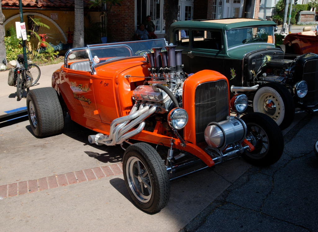 Orange 1932 Ford roadster with fuel injected motor_3/4 front view_ 12th Annual Uptown Whittier Car Show_August 18, 2012