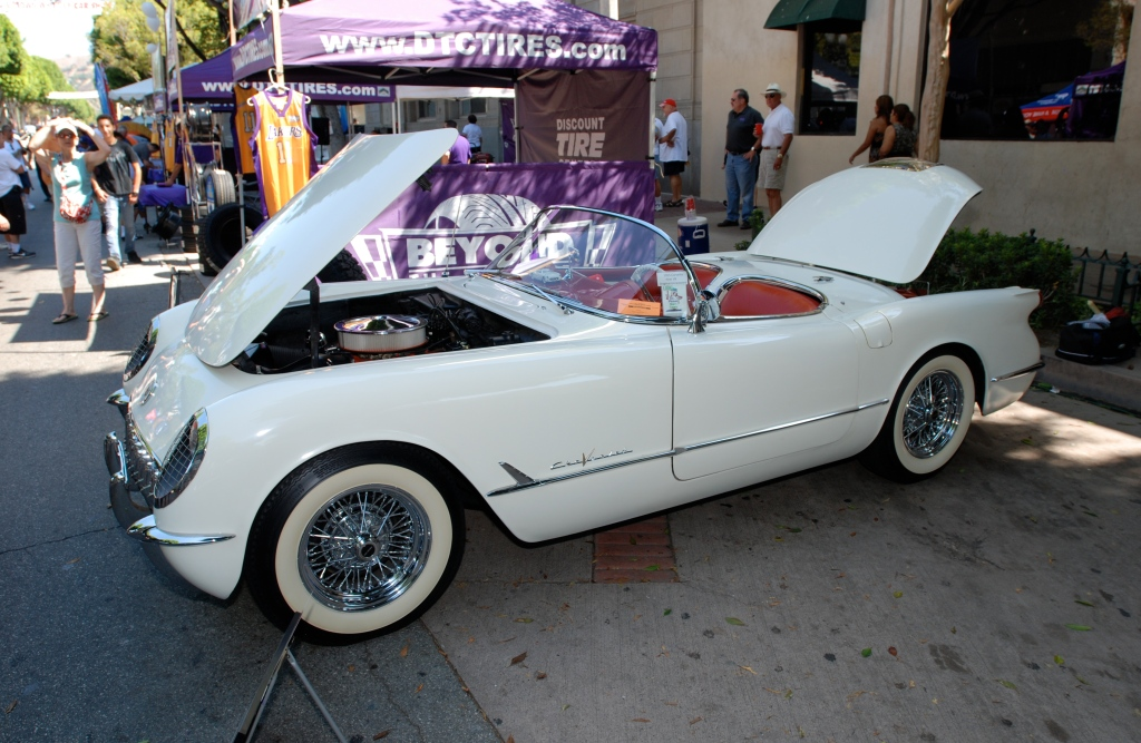 White on red 1955 Corvette_3/4 front view _ 12th Annual Uptown Whittier Car Show_August 18, 2012