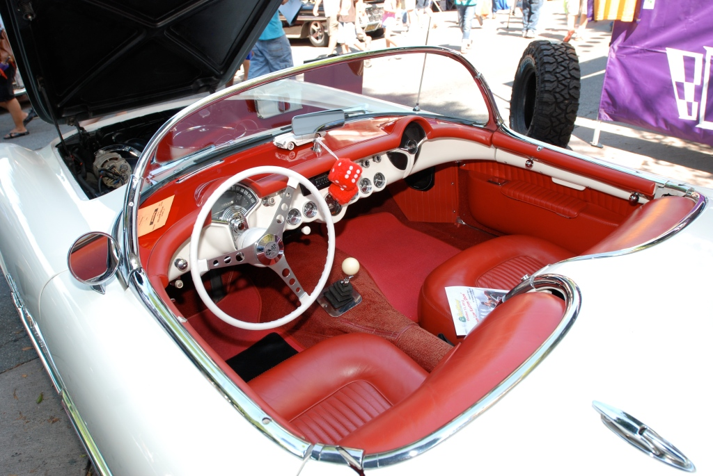 White on red 1955 Corvette_Interior detail_ 12th Annual Uptown Whittier Car Show_August 18, 2012