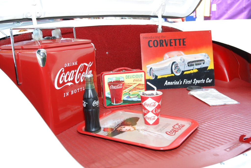 White on red 1955 Corvette_Coca Cola memorabilia in trunk _ 12th Annual Uptown Whittier Car Show_August 18, 2012