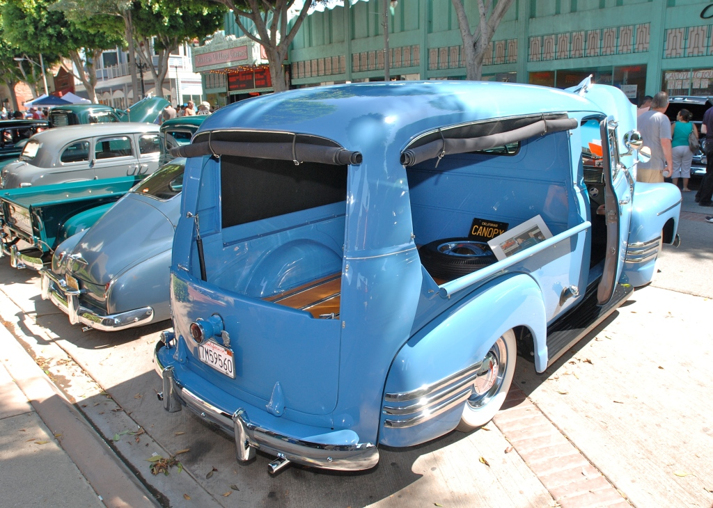 Lite blue Chevrolet Thriftmaster Deluxe_ 3/4 rear view _ 12th Annual Uptown Whittier Car Show_August 18, 2012