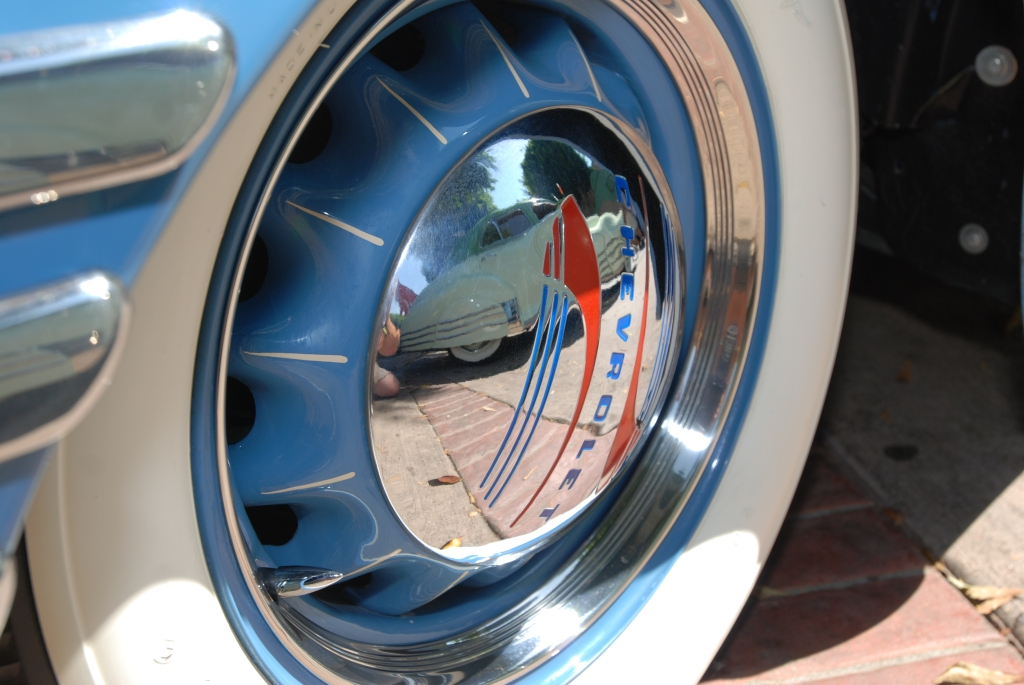 Lite blue Chevrolet Thriftmaster Deluxe_wheel & hubcap reflections _ 12th Annual Uptown Whittier Car Show_August 18, 2012