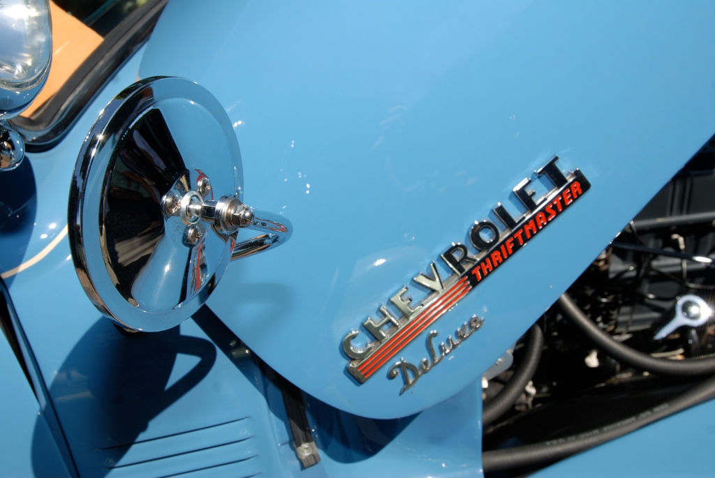 Lite blue Chevrolet Thriftmaster Deluxe _Hood badging detail _ 12th Annual Uptown Whittier Car Show_August 18, 2012