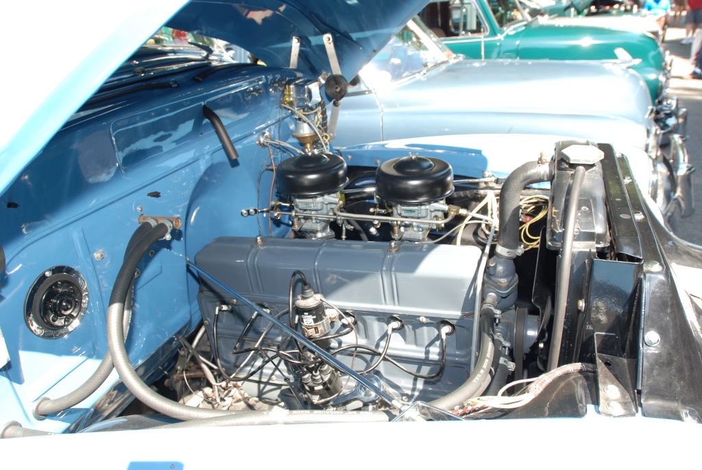 Lite blue Chevrolet Thriftmaster Deluxe _engine detail _ 12th Annual Uptown Whittier Car Show_August 18, 2012
