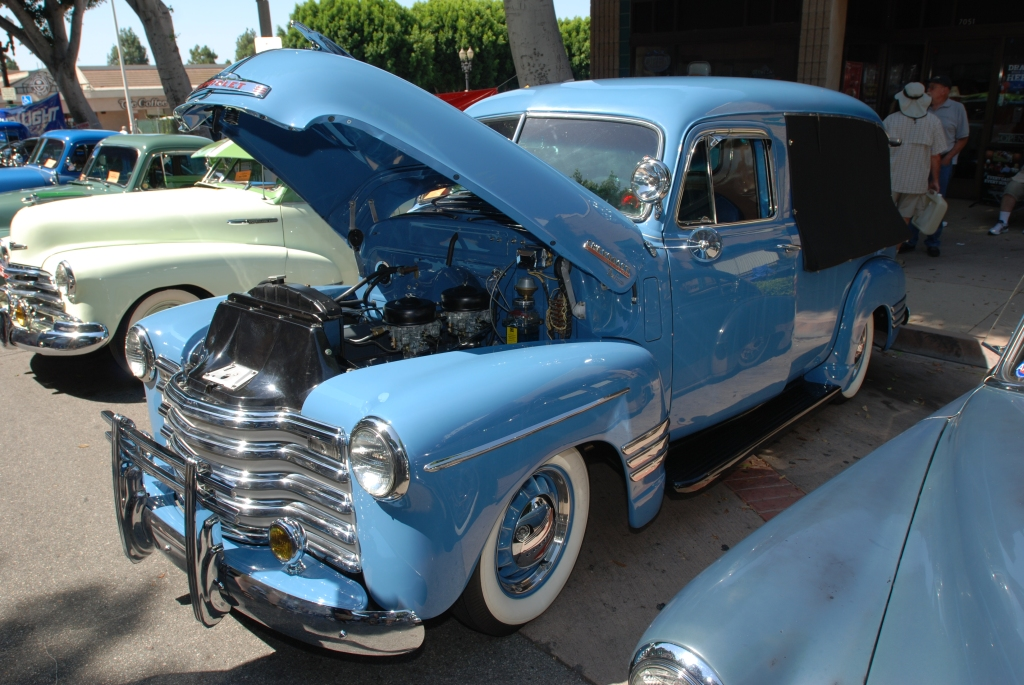 Lite blue Chevrolet Thriftmaster Deluxe_ 3/4 front view _ 12th Annual Uptown Whittier Car Show_August 18, 2012