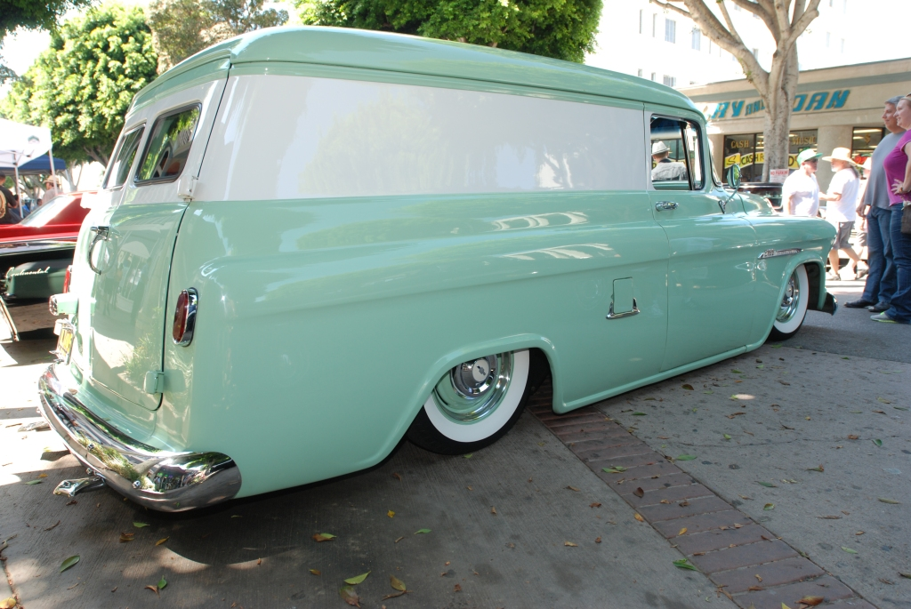 Sea Foam Green & white 1955 Chevrolet Panel_ Side view_12th Annual Uptown Whittier Car Show_August 18, 2012