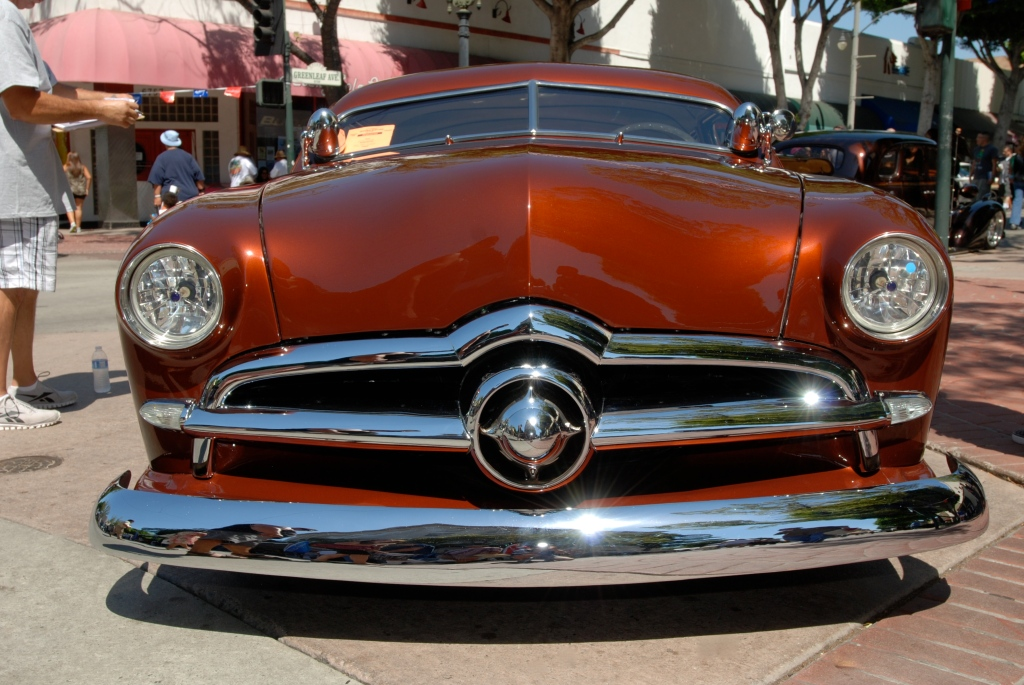 Copper colored 1950 Ford Chop Top Coupe_front view_12th Annual Uptown Whittier Car Show_August 18, 2012