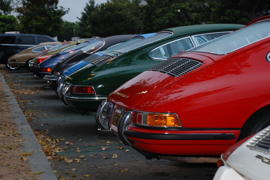 Early Porsche 911s_rear end shot along Porsche row_Cars&Coffee/Irvine_August 25, 2012
