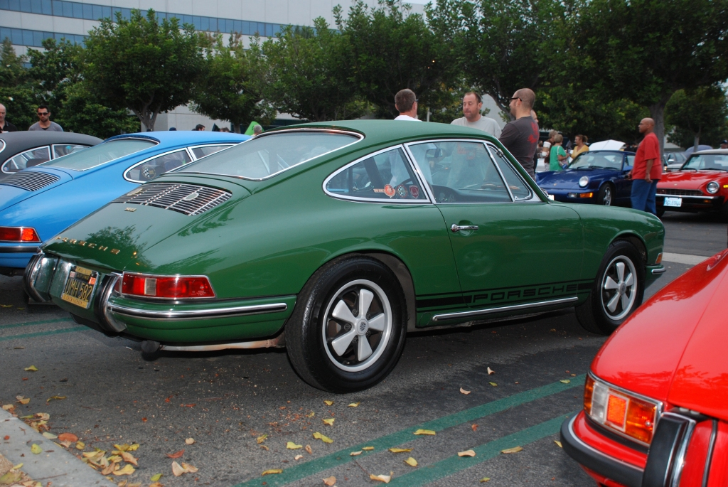Green 1967 Porsche 911_3/4 rear view Porsche row_Cars&Coffee/Irvine_August 25, 2012
