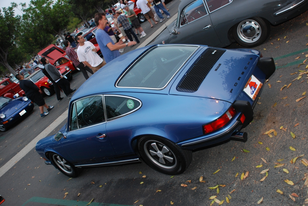 Gemini Blue 1973 Porsche 911E_3/4 rear view Porsche row_Cars&Coffee/Irvine_August 25, 2012