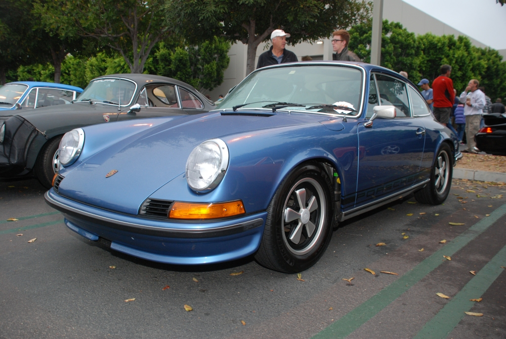 Gemini Blue 1973 Porsche 911E_3/4 front view Porsche row_Cars&Coffee/Irvine_August 25, 2012