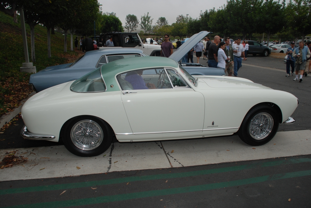 White and teal green 1955 Ferrari 250 Europa GT_Side view__Cars&Coffee/Irvine_August 25, 2012