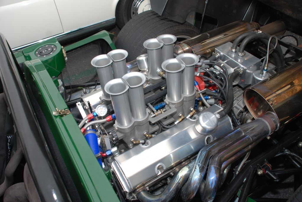 British Racing Green Ultima Can Am_motor and Hilborn fuel injection detail_Cars&Coffee/Irvine_August 25, 2012