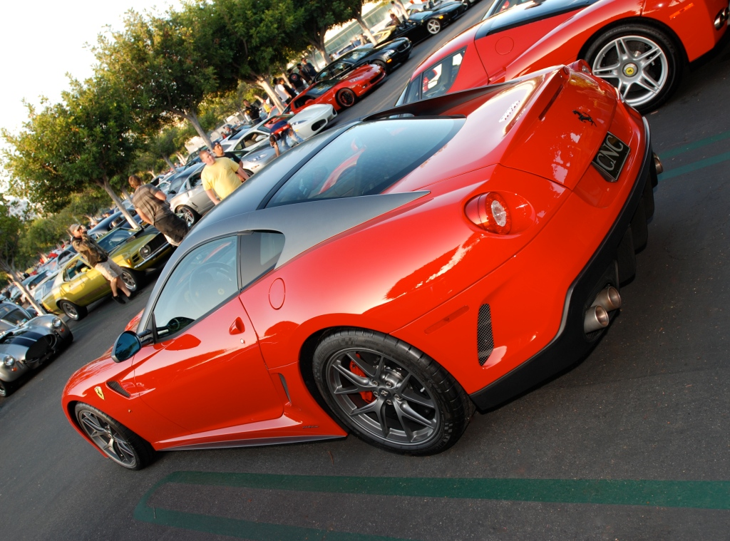Red Ferrari 599GTO_3/4 side view _ Cars&Coffee / Irvine_July 28, 2012