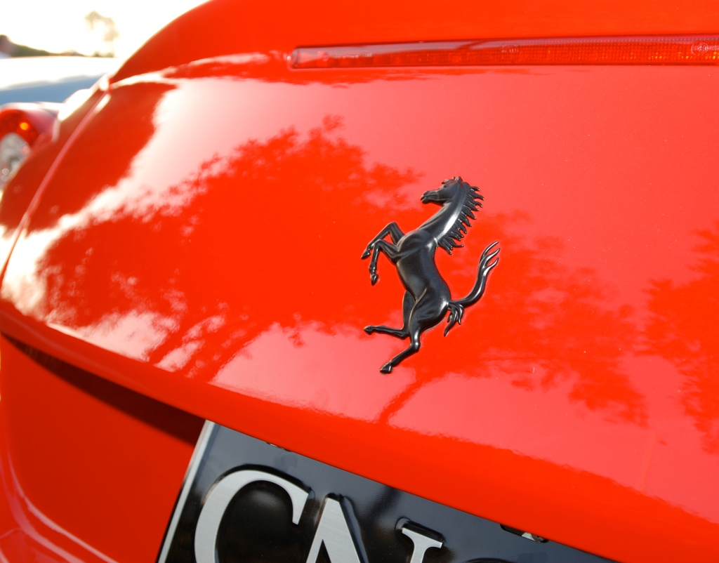 Red Ferrari 599GTO_ Black prancing horse logo on rear trunk _ Cars&Coffee / Irvine_July 28, 2012