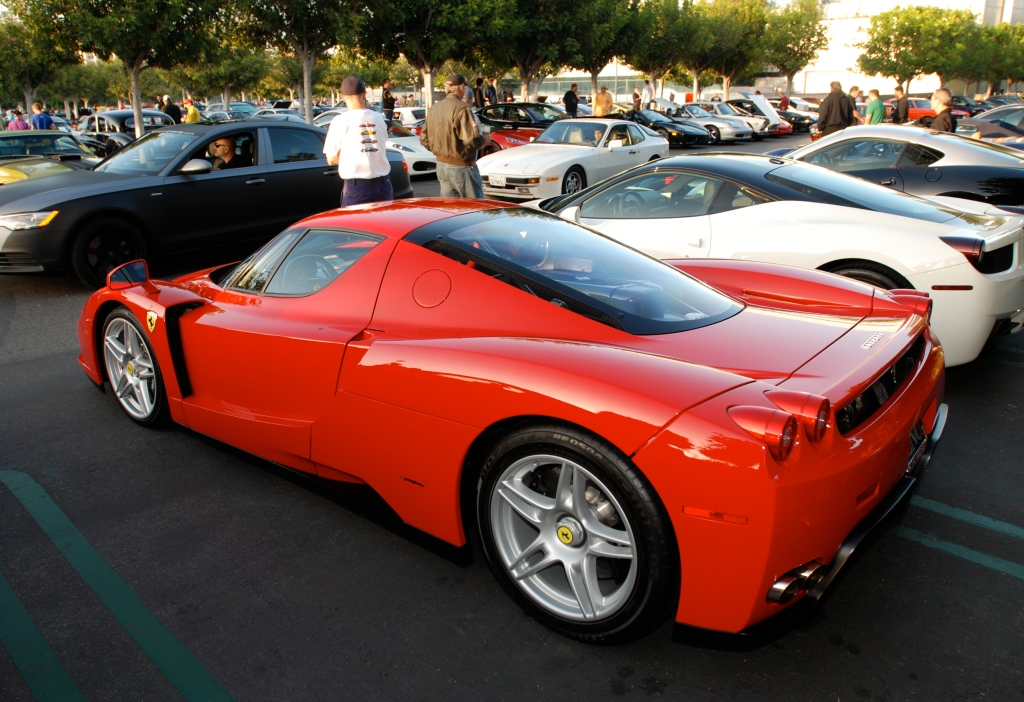 Red Enzo Ferrari_3/4 rear view & reflections_Cars&Coffee / Irvine_July 28, 2012