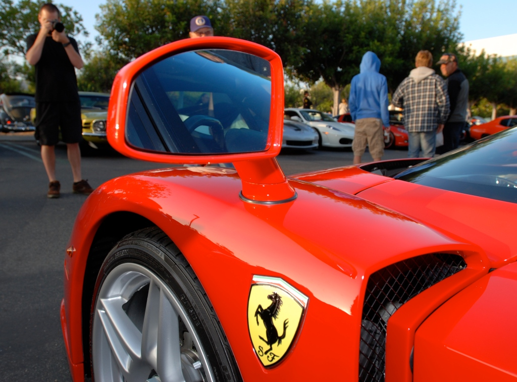 Fender & mirror detail_Red Enzo Ferrari_Cars&Coffee / Irvine_July 28, 2012