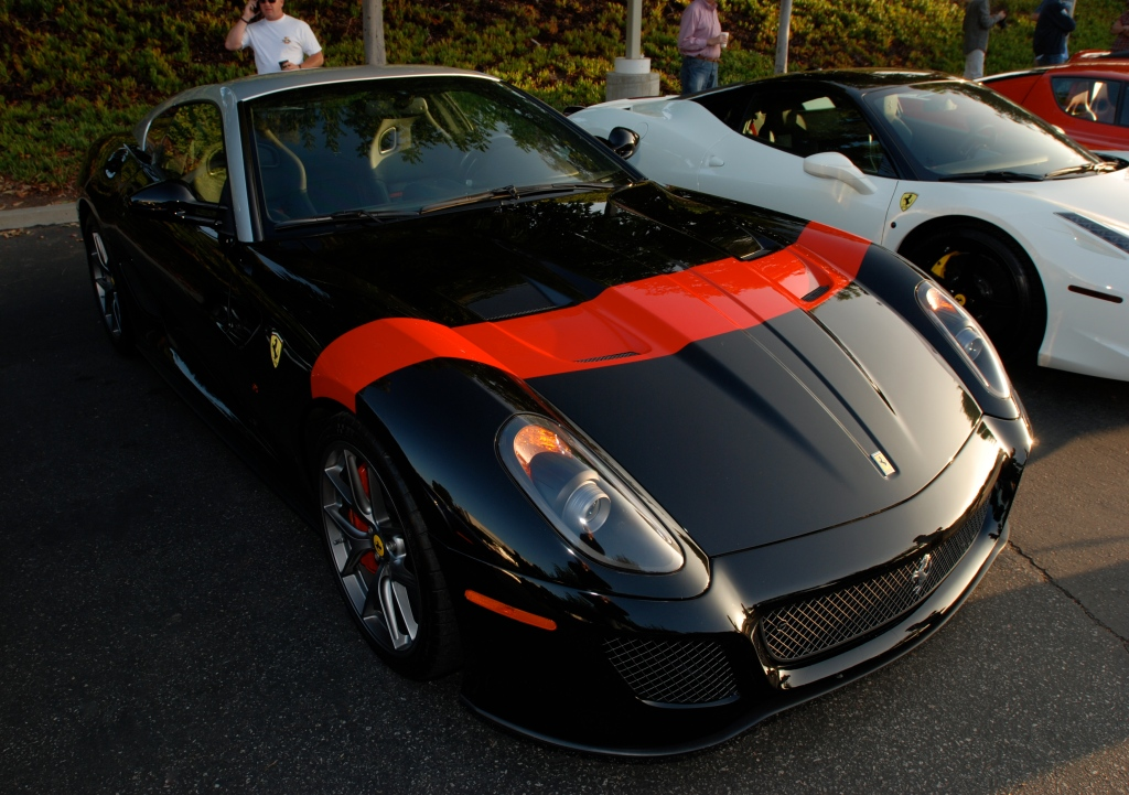 Black Ferrari 599 GTO_3/4 front view_Cars&Coffee/Irvine_July 28, 2012