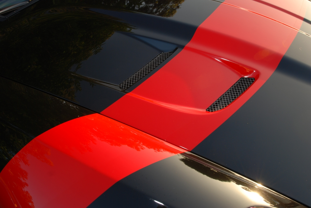 Front hood contours, stripe and ducting_Black Ferrari 599 GTO_Cars&Coffee/Irvine_July 28, 2012