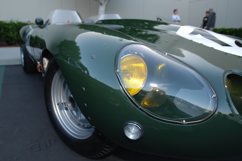 British Racing Green Jaguar E-type race car_1 of only 16 built_Front headlight & reflections_Cars&Coffee / Irvine_July 28, 2012
