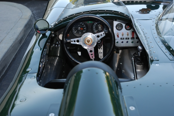 British Racing Green Jaguar E-type race car_1 of only 16 built_cockpit detail_Cars&Coffee / Irvine_July 28, 2012