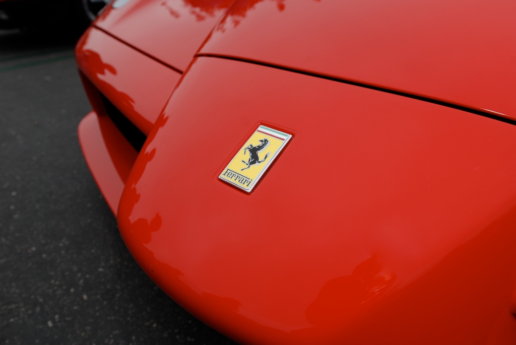 Red Enzo Ferrari_front nose detail_Cars&Coffee / Irvine_July 28, 2012
