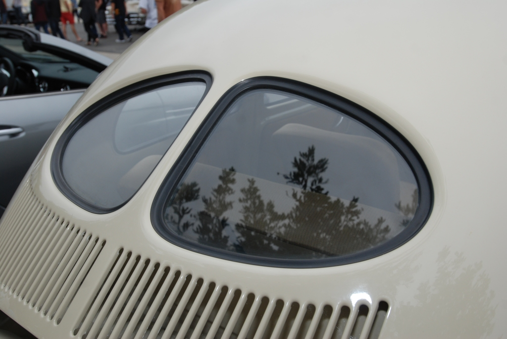 Linen colored 1950's vintage Volkswagen_ rear  Split window_Cars&Coffee/Irvine_July 28, 2012