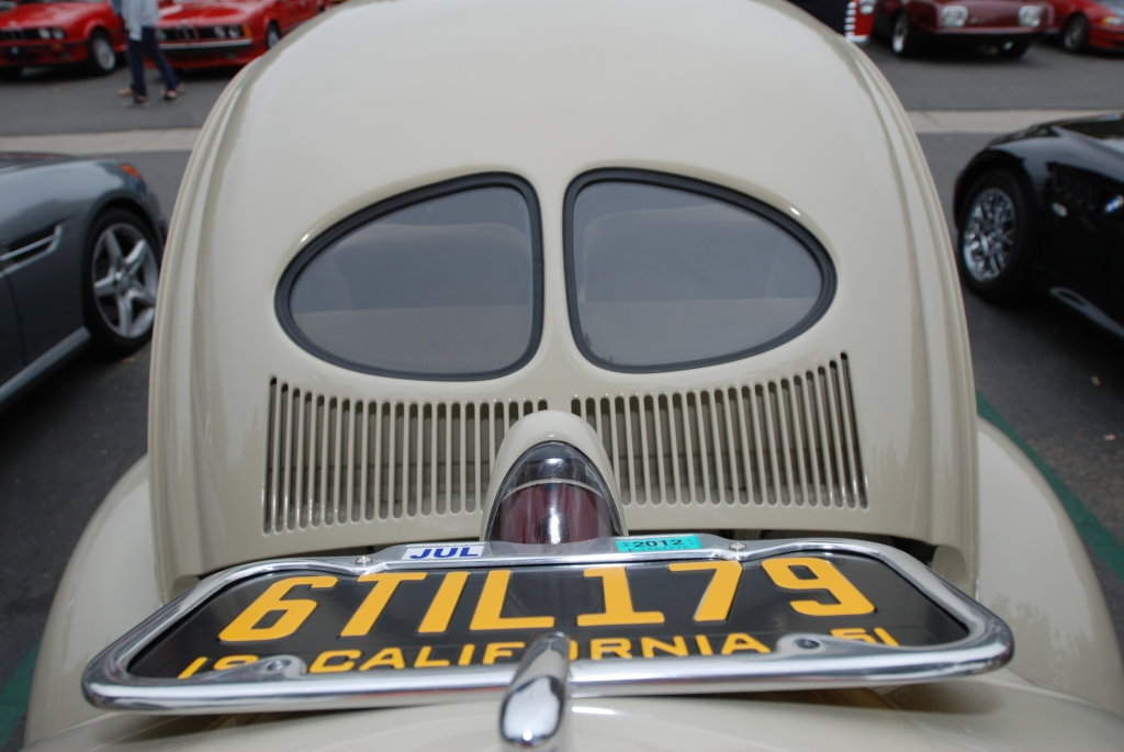 Linen colored 1950's vintage Volkswagen _opened rear deck lid, license plate & Split window_Cars&Coffee/Irvine_July 28, 2012