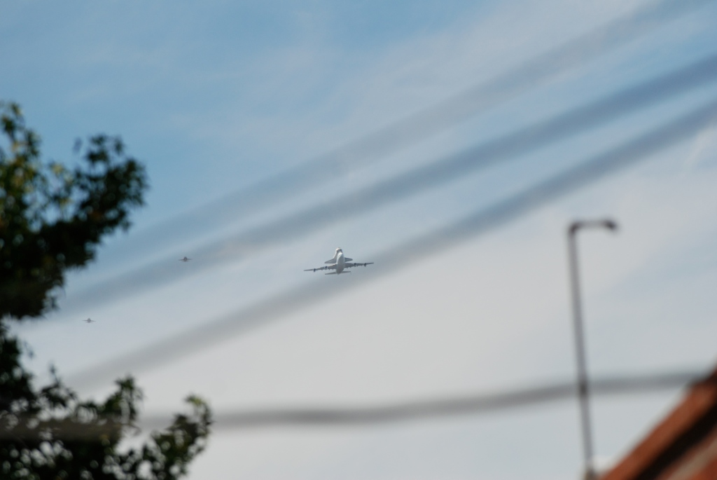 Space shuttle Endeavour's final flight_approach to South Pasadena, CA._photo 1_Friday September 21, 2012